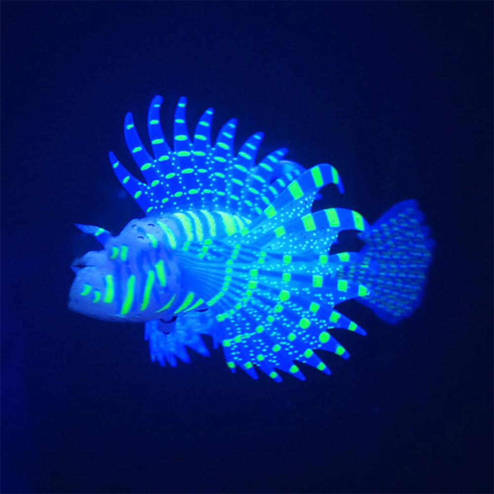 Aquarium Landscaping Aquarium Decoration Luminous Simulation Color Lionfish Silicone Material Fish Fishbowl Decoration blue