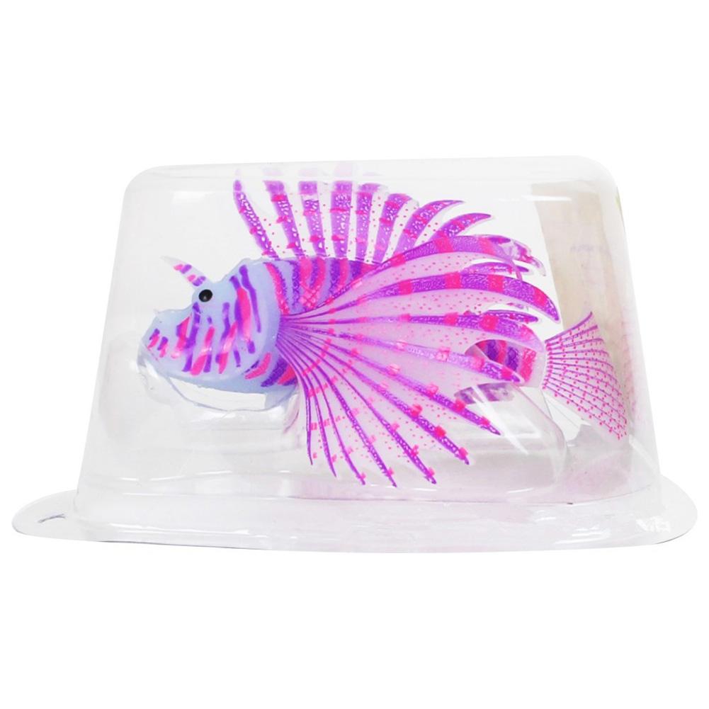Aquarium Landscaping Aquarium Decoration Luminous Simulation Color Lionfish Silicone Material Fish Fishbowl Decoration purple