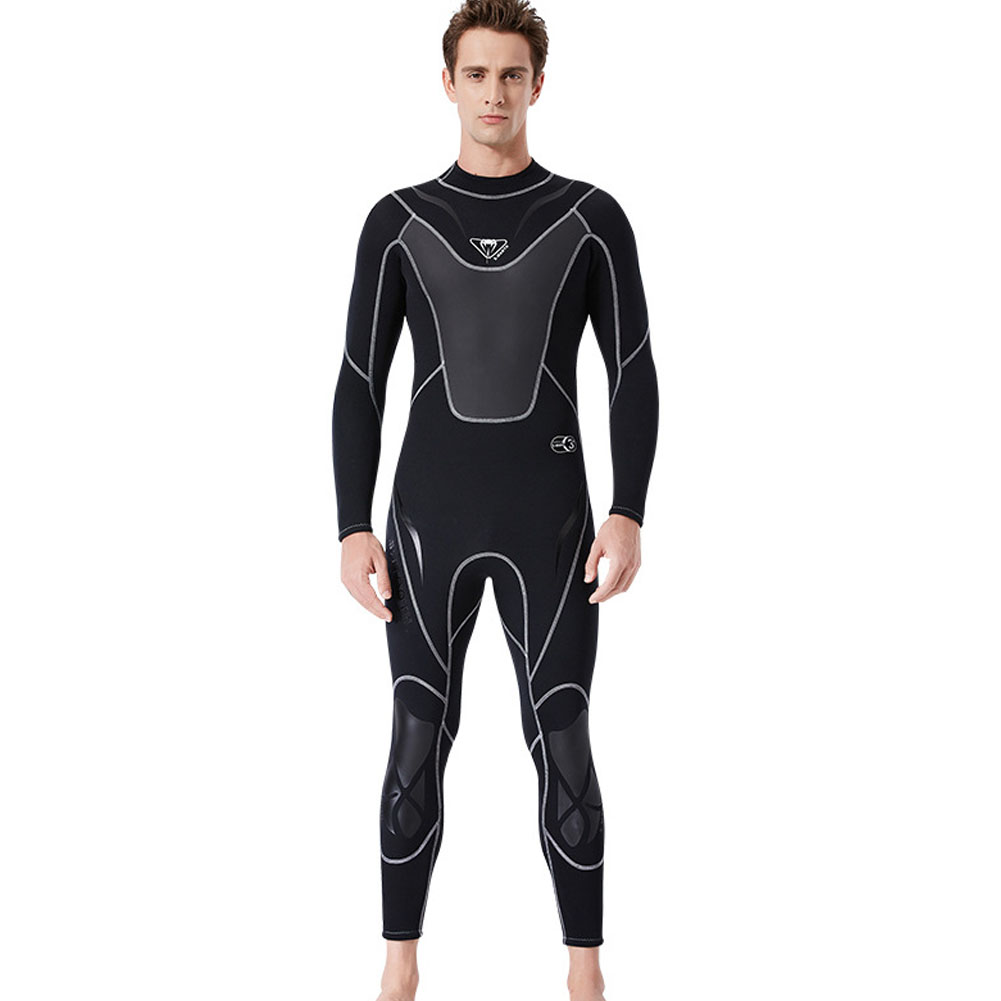 3MM Diuving Suit Men Wet-type Siamese Warm Long Sleeve Cold-proof WInter Surfing Swimwear black_L