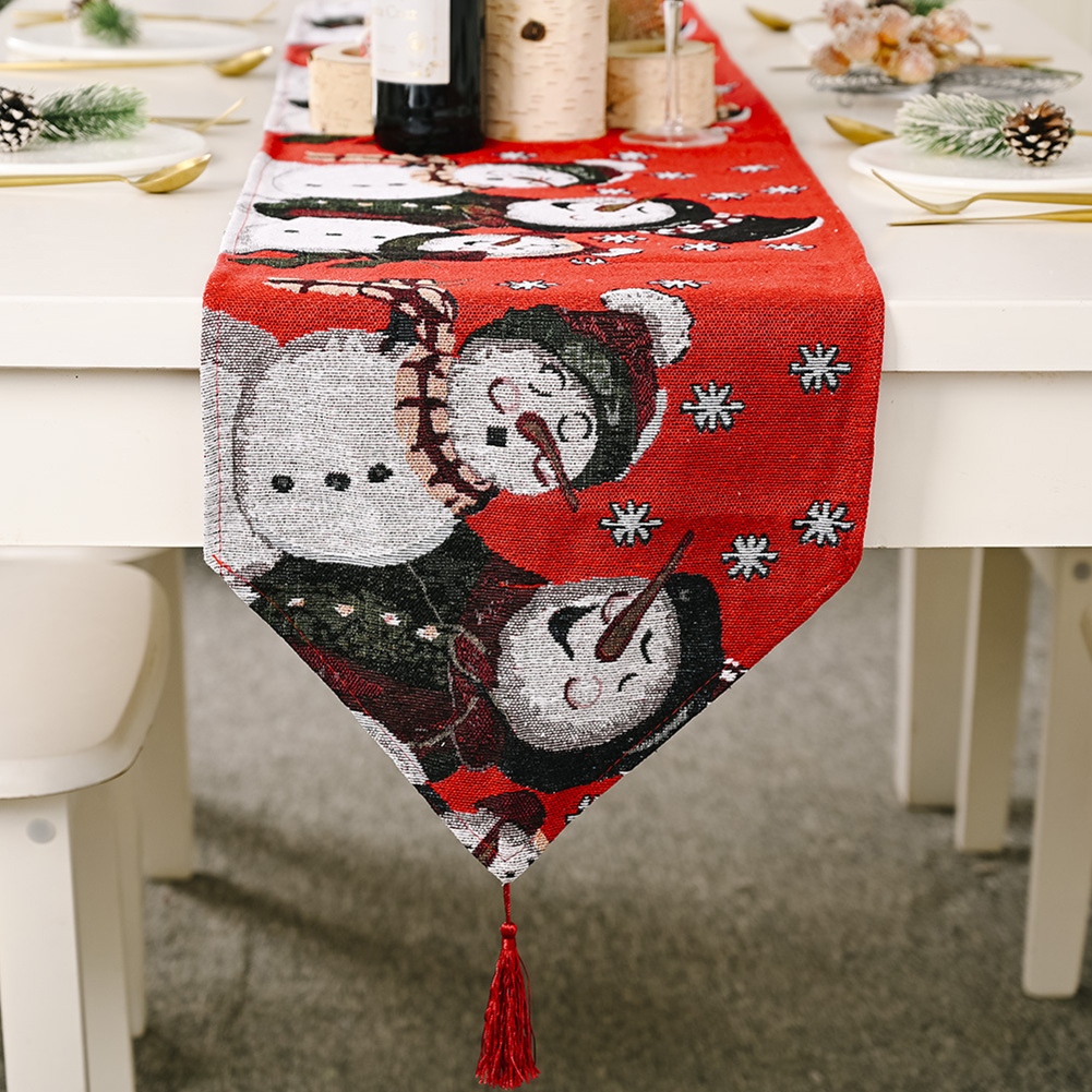 Red  Snowman Long  Table Runner Cloth Non-slip  Table Runner  Home Party Decor Snowman 2#