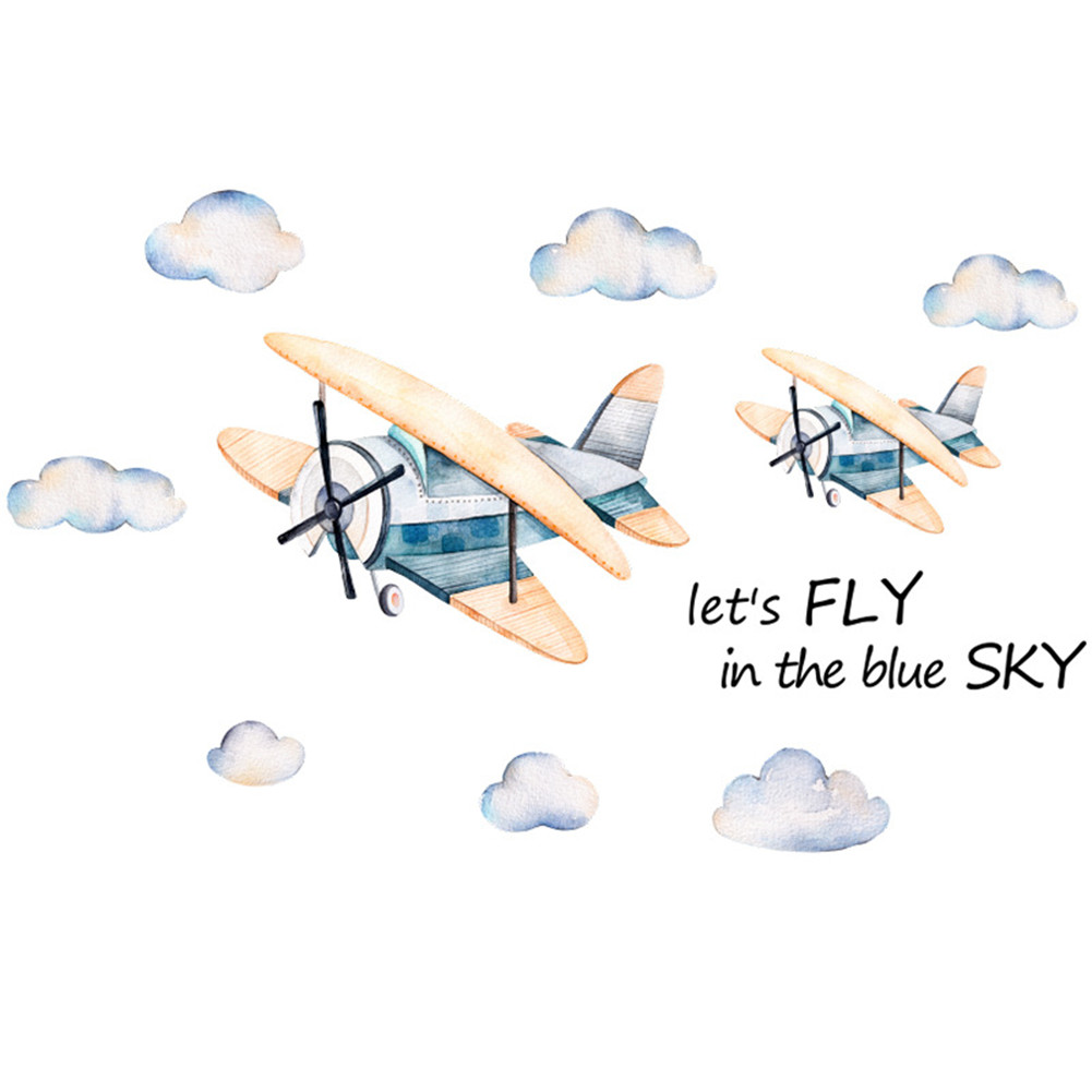 WaterColour Airplane Pattern Wall Sticker Kids Baby Rooms Home Decoration Nursery Wallpaper 45 * 60cm * 2pcs