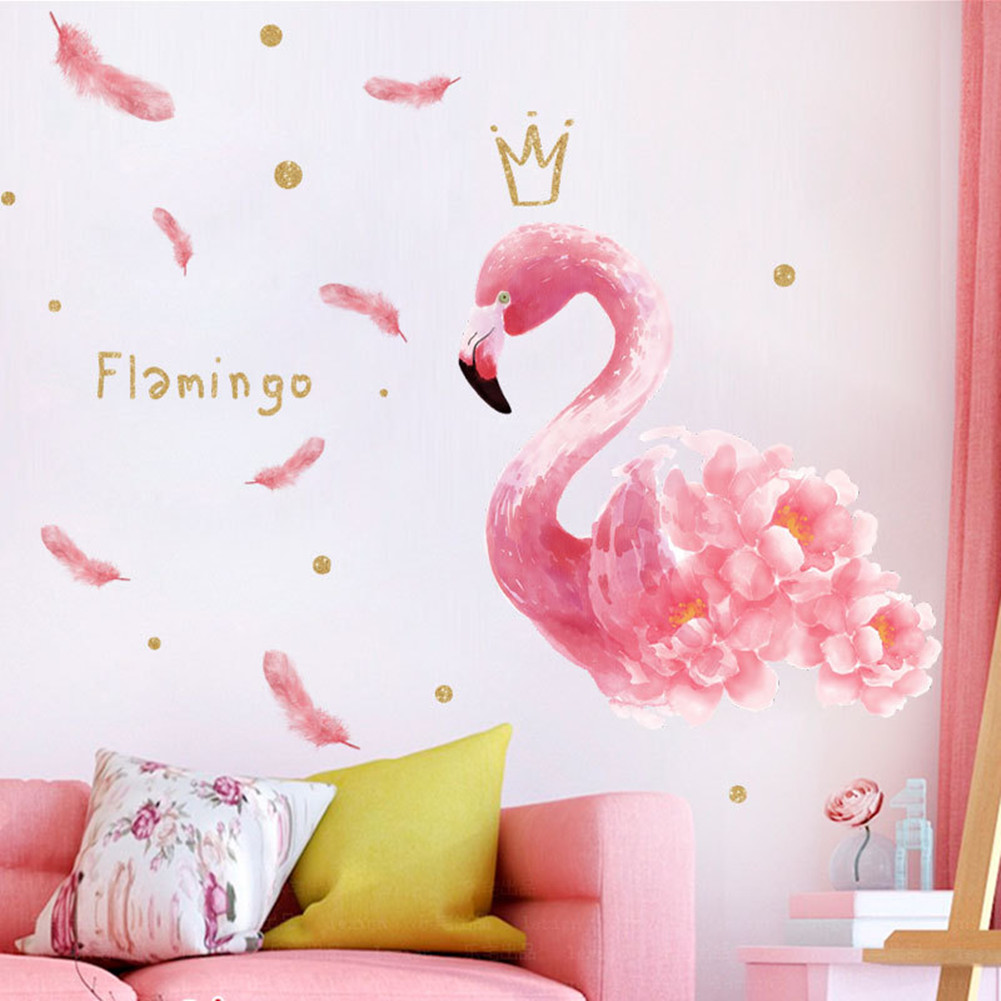 Pink Flamingo Feather Wall Stickers Diy Self-adhesive Girl Room Bedroom Home Decor 40 * 60cm