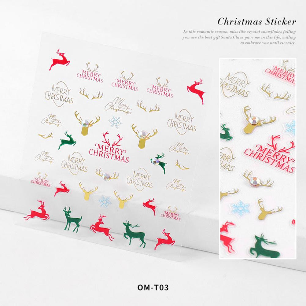 Nail sticker Cartoon Christmas Series Nail Art With Diamond Stickers 3d Santa Snowflake Nail Decoration Stickers 3D Christmas model with diamond sticker-03