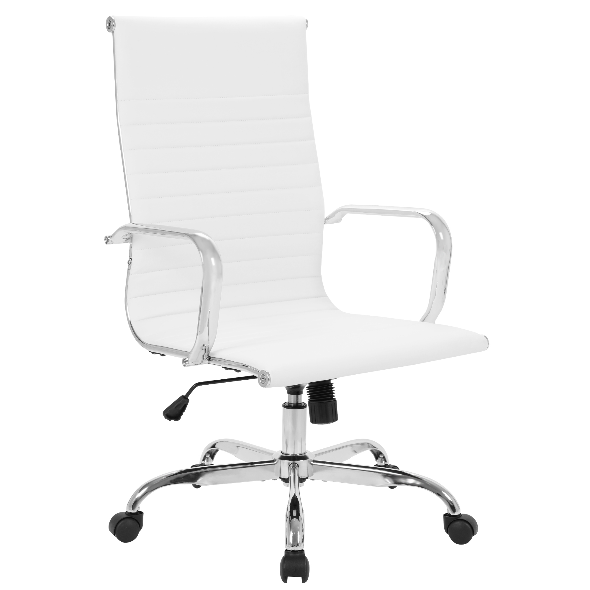 [US Direct] High Back Office Chair Home Desk Chair PU Leather White 9110HWHI W553