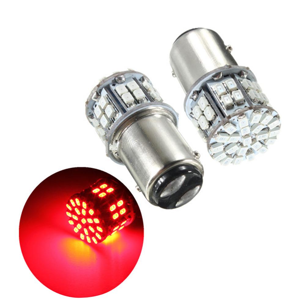 Pack of 2 Super Bright BAY15D 1157 50SMD 1206 LED Car Brake Light, DC 12V 50 LEDs Auto Rear Tail Lights, Red Turn Signal Lamps Bulb