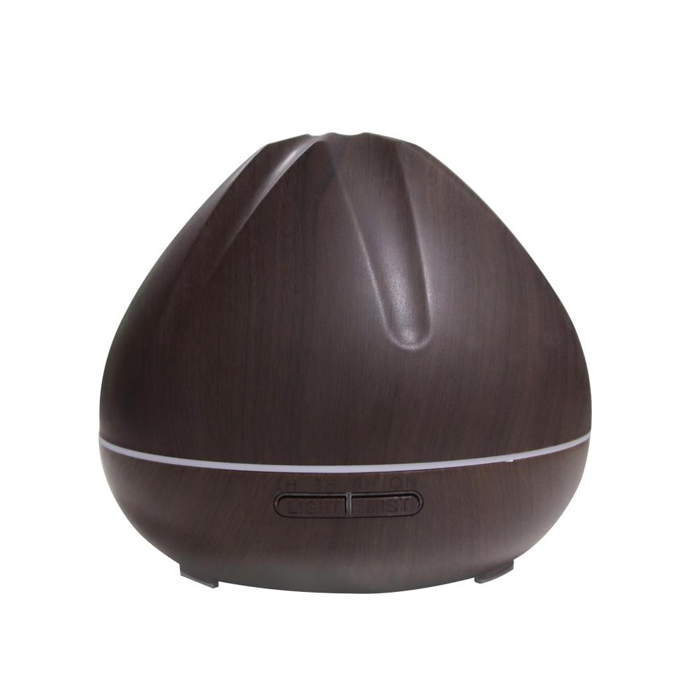 500ml Aroma Air Humidifier Essential Oil Diffuser Aromatherapy Electric Ultrasonic Mist Maker Remote Control Dark wood grain_British plug