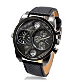 New in Box Oulm Military Genuine Black Leather 2 Timer Oversize Men`s Watch Cool