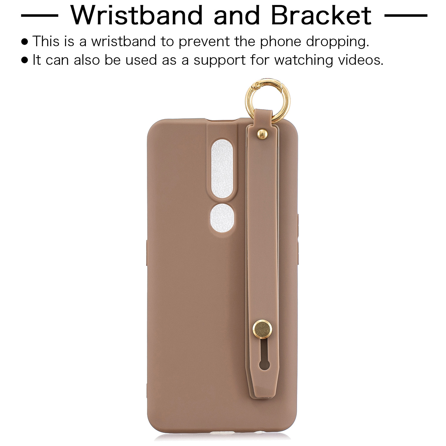 For OPPO F11 pro Simple Solid Color Chic Wrist Rope Bracket Matte TPU Anti-scratch Non-slip Protective Cover Back Case 9 coffee