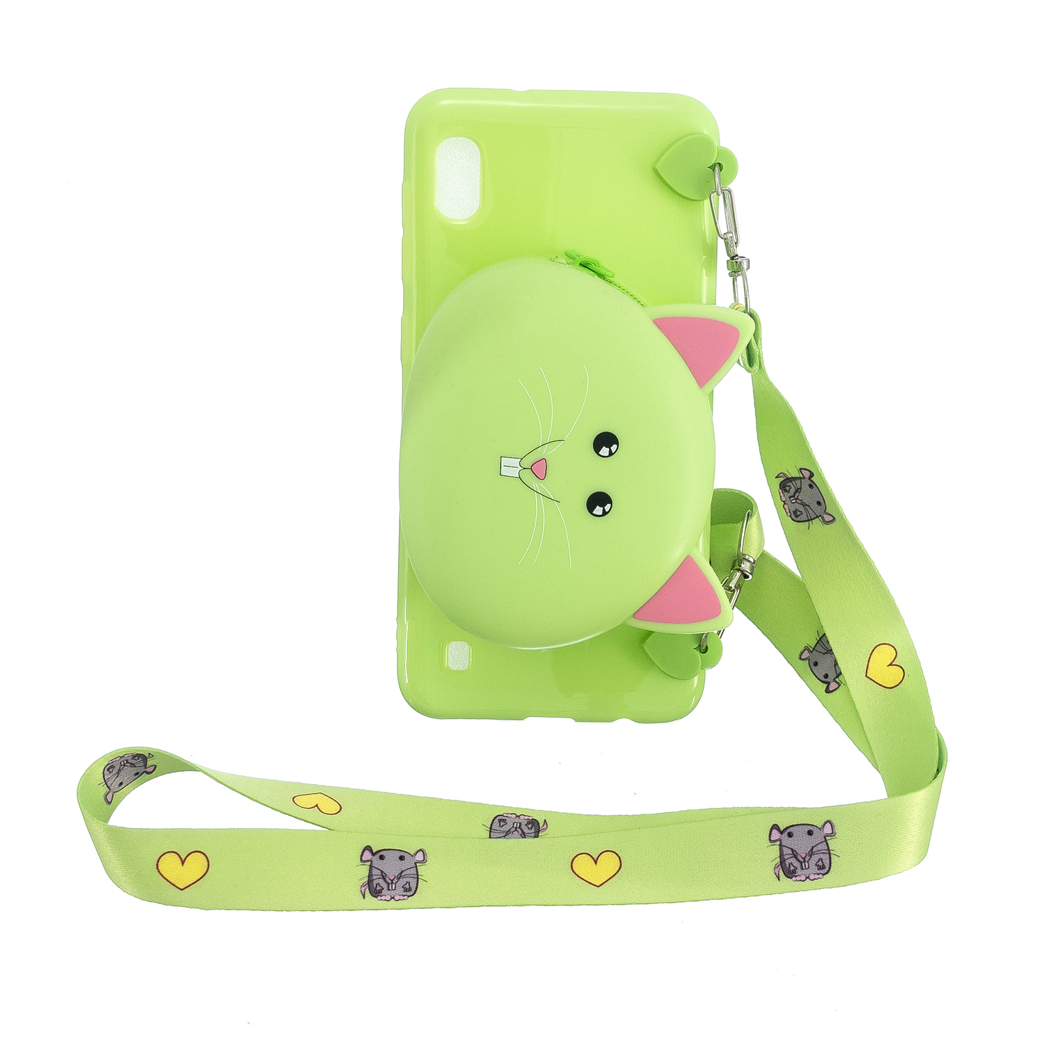 For Samsung A10/A20/A30 Case Mobile Phone Shell Shockproof TPU Cellphone Cover with Cartoon Cat Pig Panda Coin Purse Lovely Shoulder Starp  Green