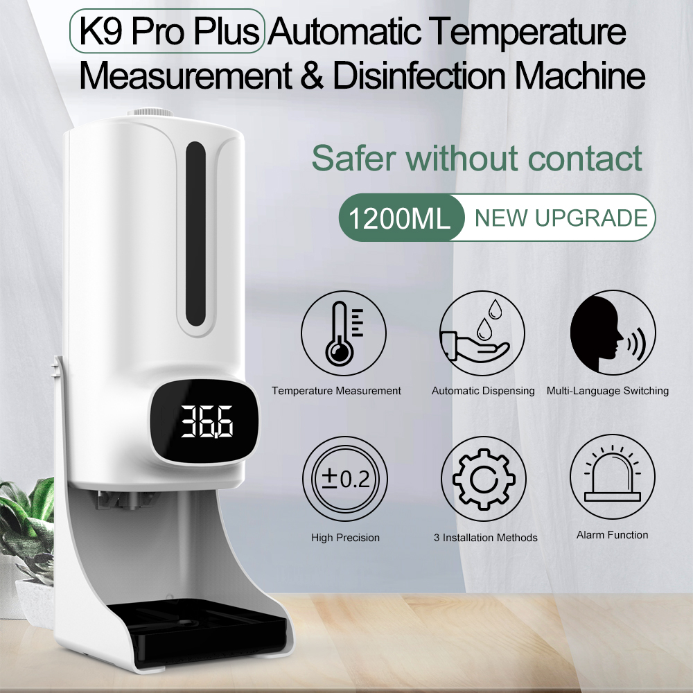 Automatic  Soap  Dispenser Touchless Foaming Soap Rechargeable Dispenser With Thermometer white