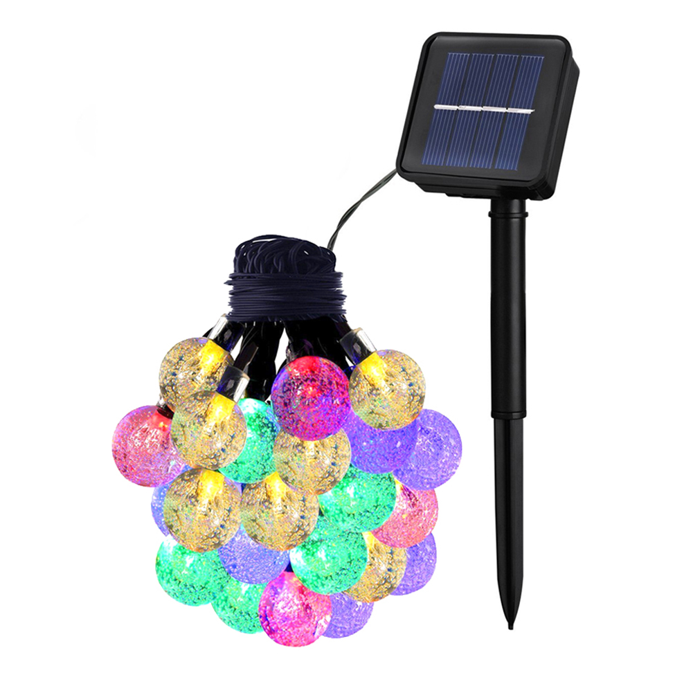 6.5M 30LED Solar-powered Bubble String Lights Night Light Garden Home Party Bar Decoration colourful