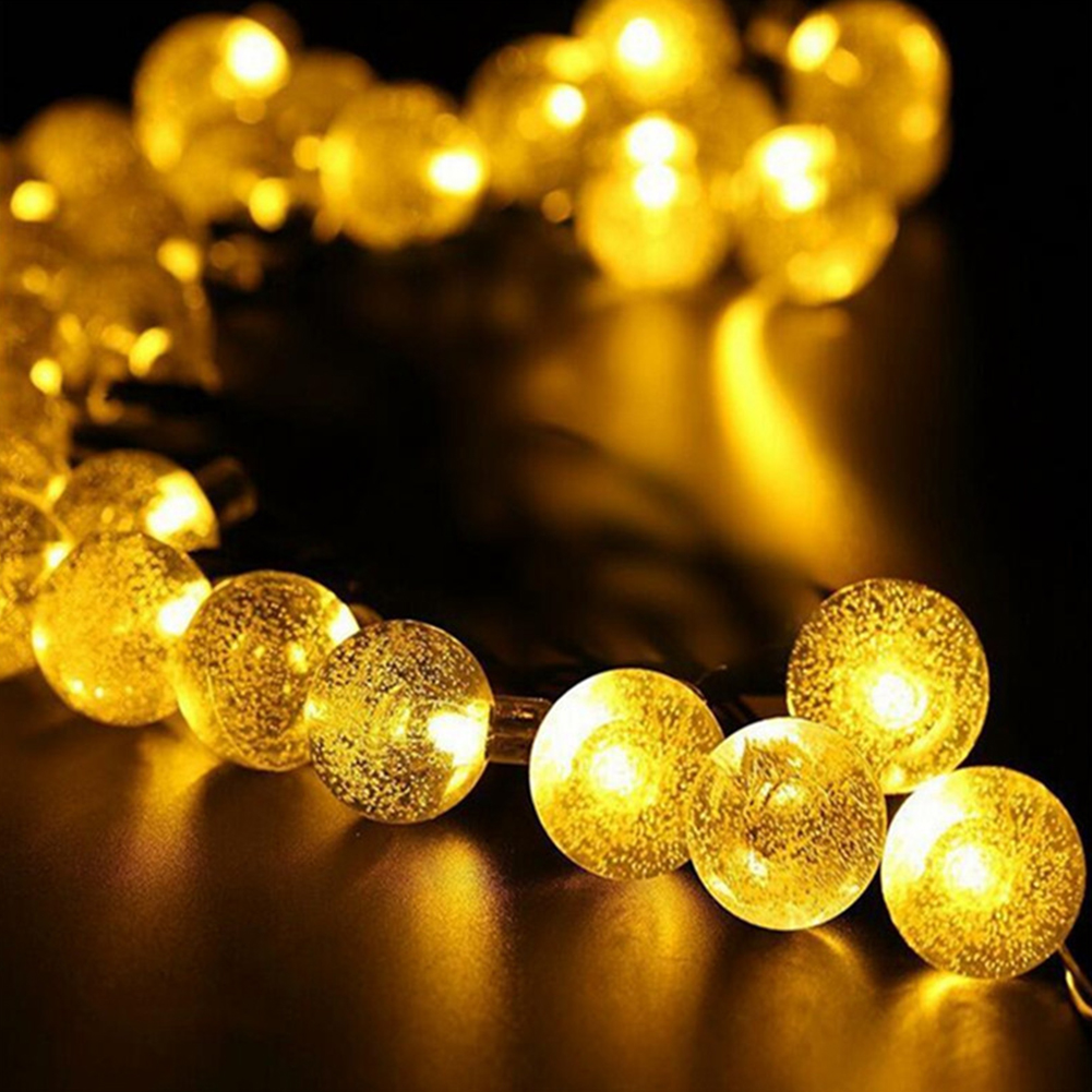 6.5M 30LED Solar-powered Bubble String Lights Night Light Garden Home Party Bar Decoration warm white