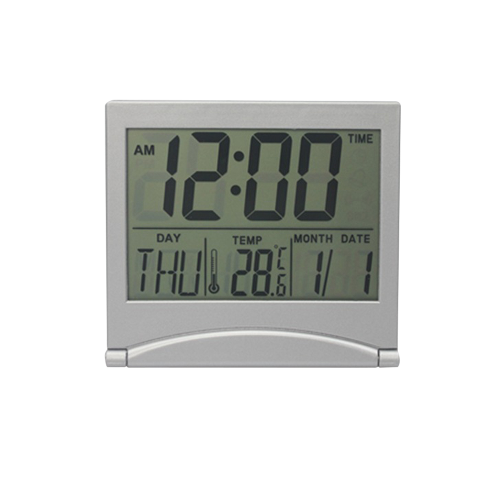 Folding Desktop Electronic Clock Ultra-Thin Travel Portable Date Temperature Alarm Clock white