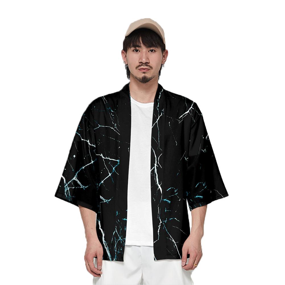 Unisex Fashion Summer Half Sleeve Loose Kimono Thin Sunscreen Robe Clothes V00025-3M25_L