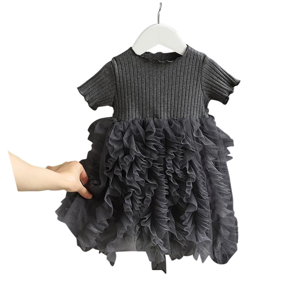 Girls Dress Knitted Short-sleeve Fluffy Yarn Cake Dress for 1-6 Years Old Kids gray_100cm