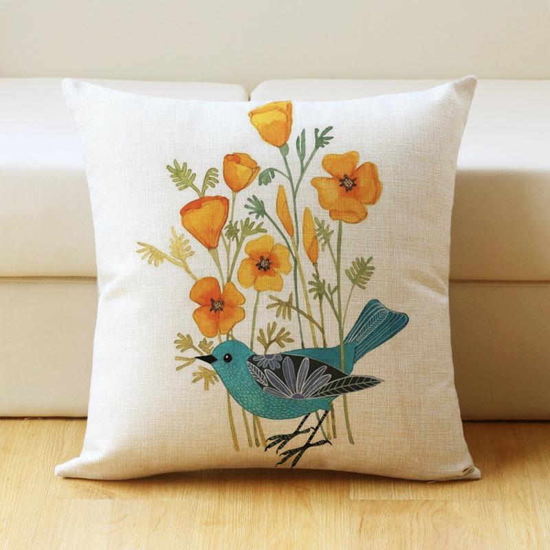 17 inch Bird Print Cushion Cover Cotton Linen Pillow Case Home Bedding Sofa Decoration 44 * 44cm_#3