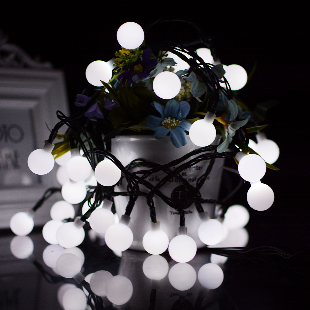 7M 50LEDs Waterproof White Ball Shape Solar Powered String Light for Decoration White light_(ME0004001)