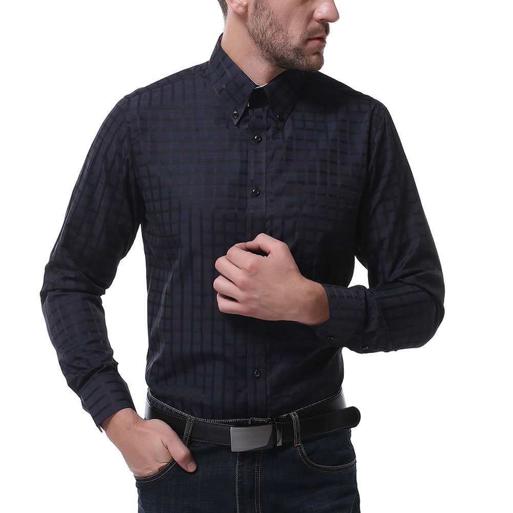 Men Long Sleeve Formal Shirt Casual Business Lapel Adults Tops with Pockets Black_XL