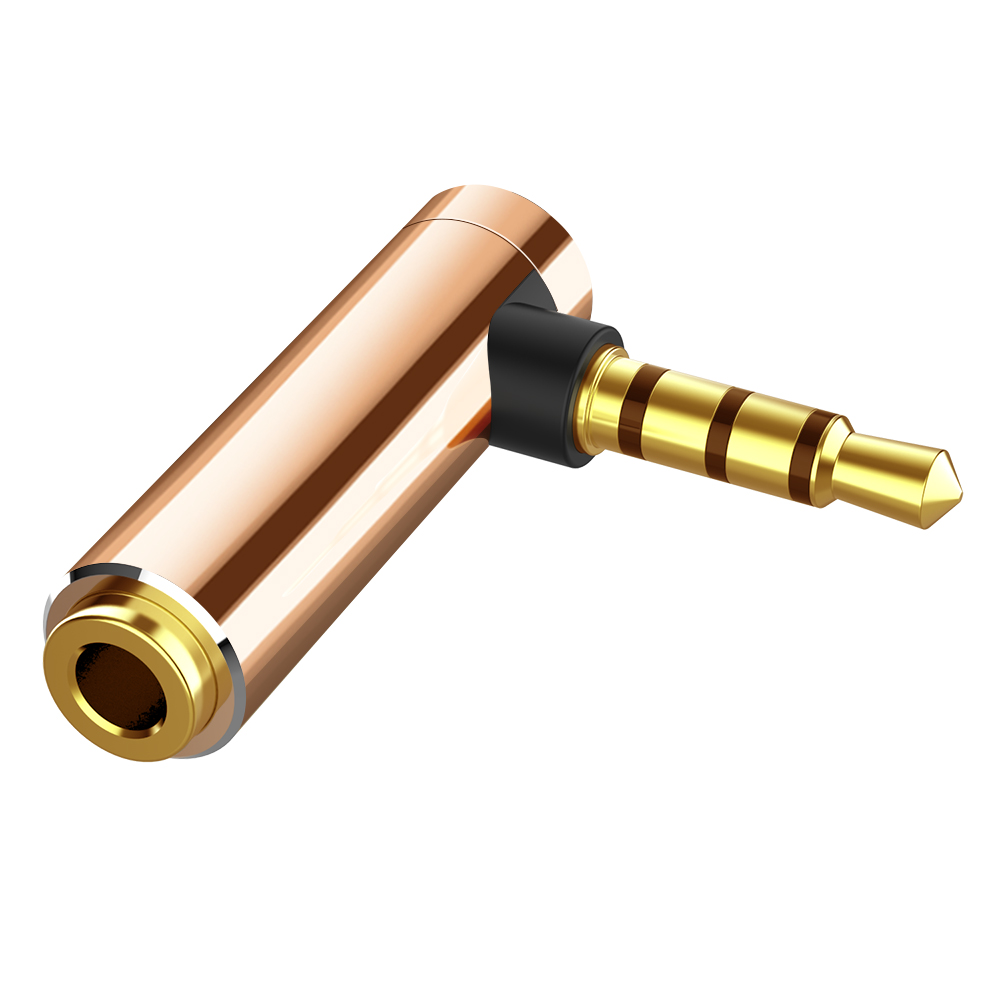 Audio Jack 3.5mm to 3.5mm Right Angle Male to Female Stereo Audio L-shaped Headphone Converter 90 Degrees Gold