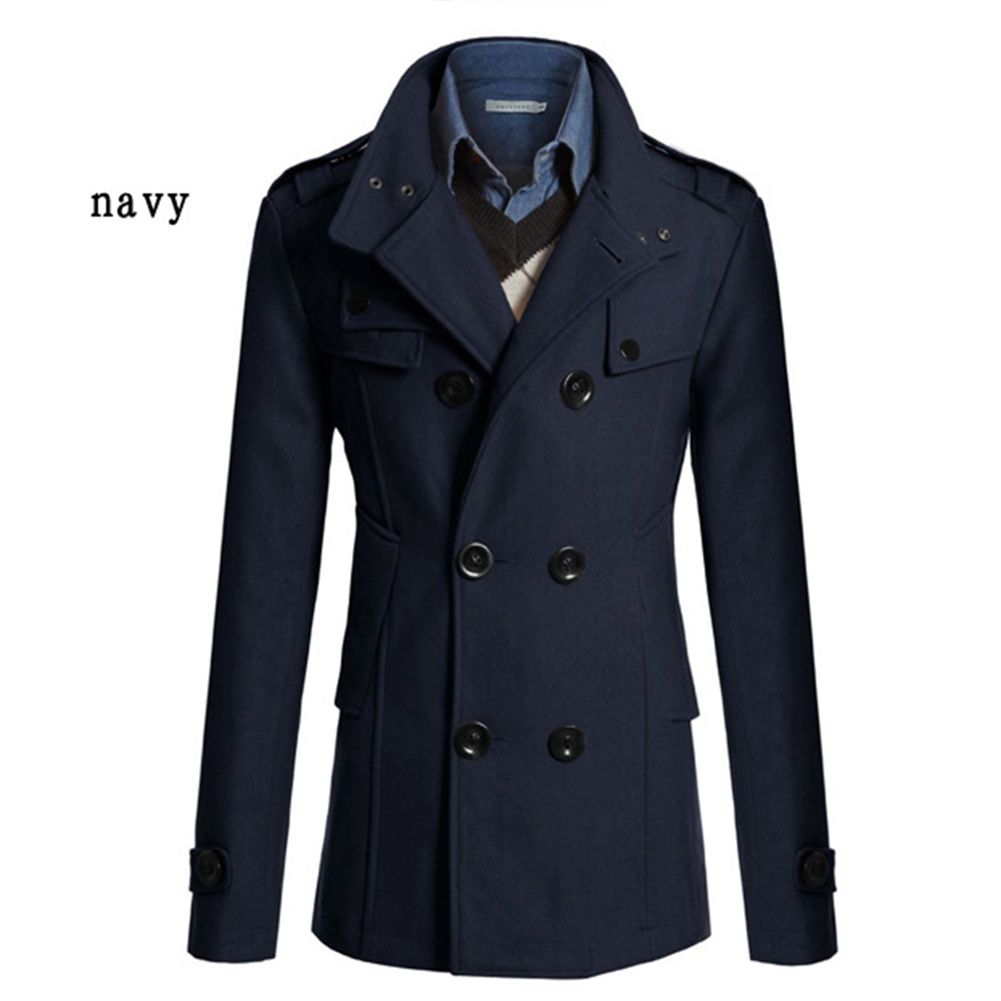Men Winter Warm Trench Coat Reefer Jackets Solid Color Stand Collar Double Breasted Peacoat Navy blue_2XL