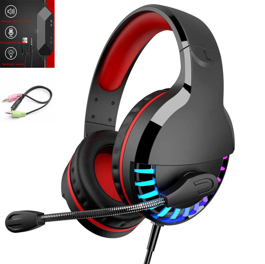 3. 5mm+usb Gaming  Headset Headphone Surround Sound Stereo Game Wired Colorful LED Earphone With Hd Microphone black