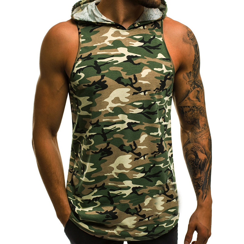 Man Vest Camouflage Casual Tops Patchwork Running Jacket Sleeveless Sports Wear green_L