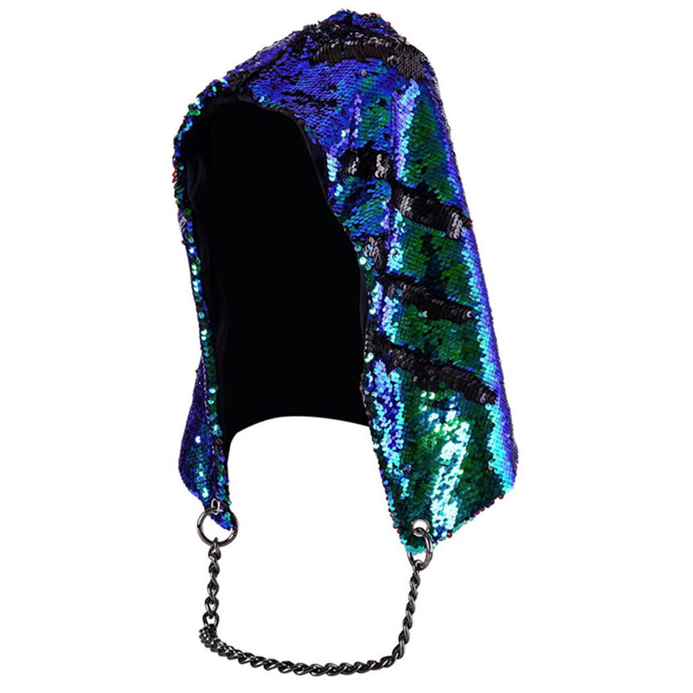 Unisex Fashion Mermaid Hat Magical Reversible Sequin Cap Hood Dress Up Color Changing Hat Bright green_free size