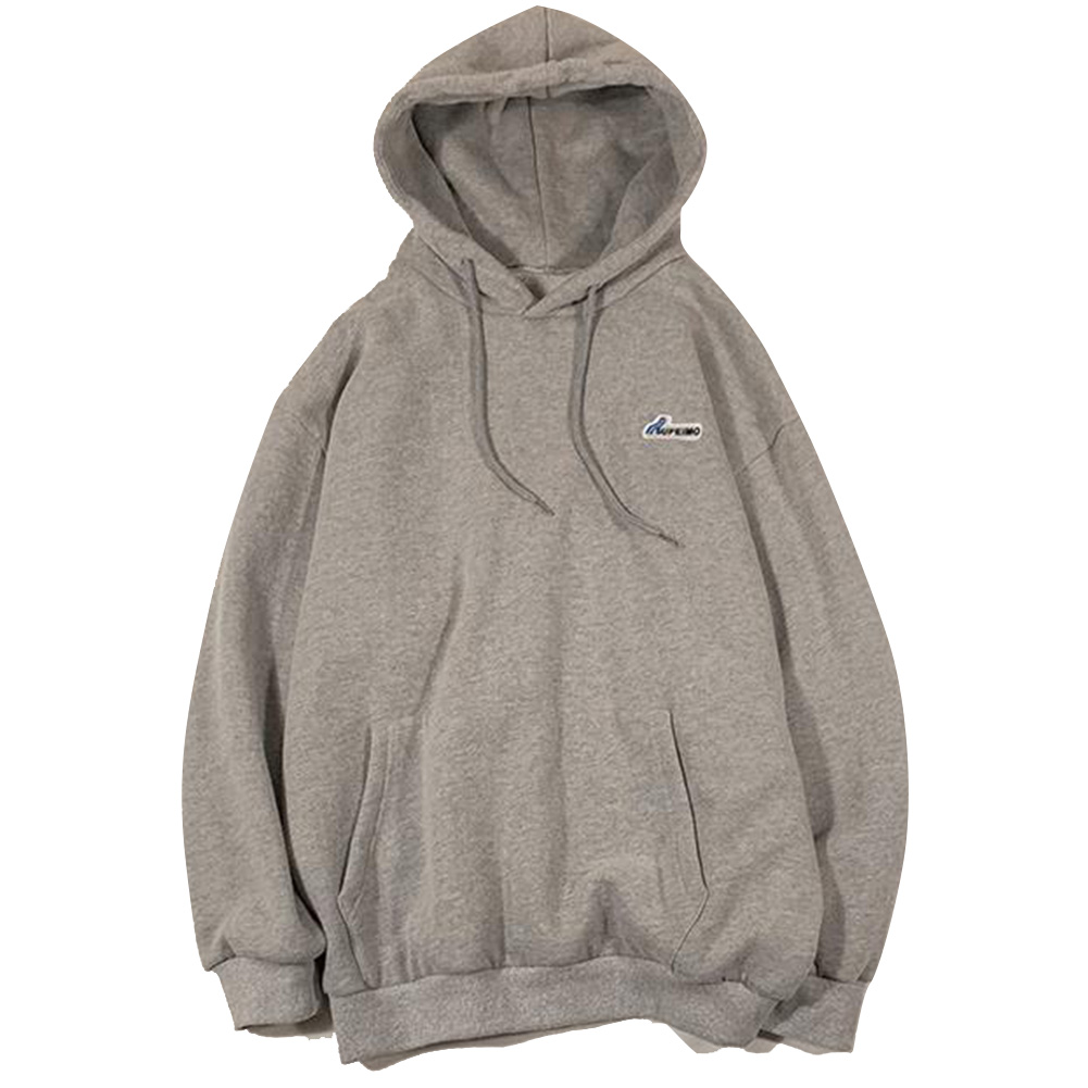 Men Women Hoodie Sweatshirt Letter Solid Color Loose Fashion Pullover Tops Light gray_L