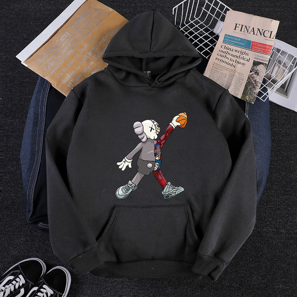KAWS Men Women Hoodie Sweatshirt Walking Doll Cartoon Thicken Autumn Winter Loose Pullover Black_L