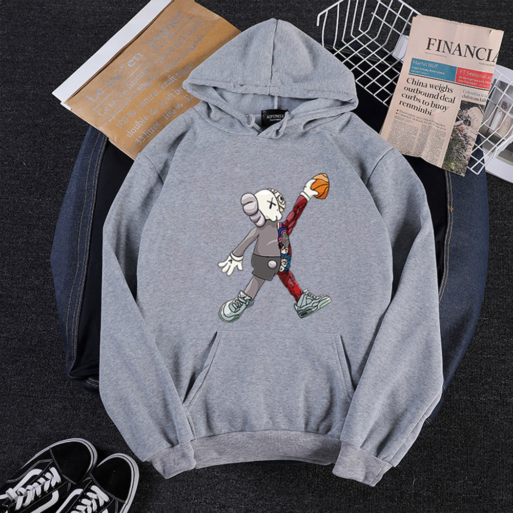 KAWS Men Women Hoodie Sweatshirt Walking Doll Cartoon Thicken Autumn Winter Loose Pullover Gray_S