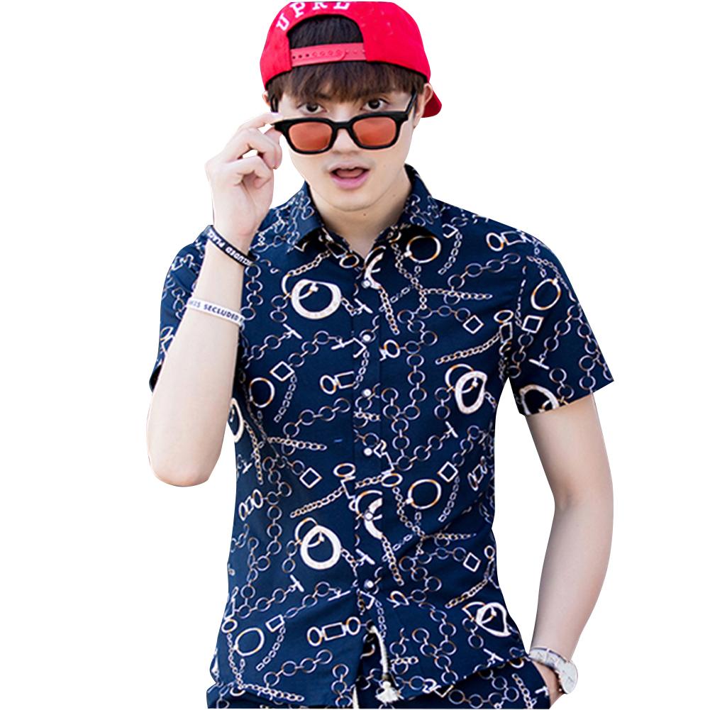 Men Summer Short Sleeve Vivid Color Printed Casual Shirt  DC05_XL