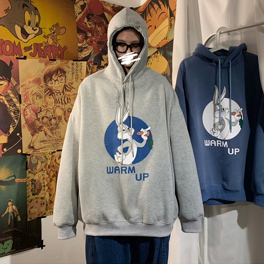 Men Women Hoodie Sweatshirt Cartoon Rabbit Printing Fashion Loose Pullover Casual Tops Light gray_XL