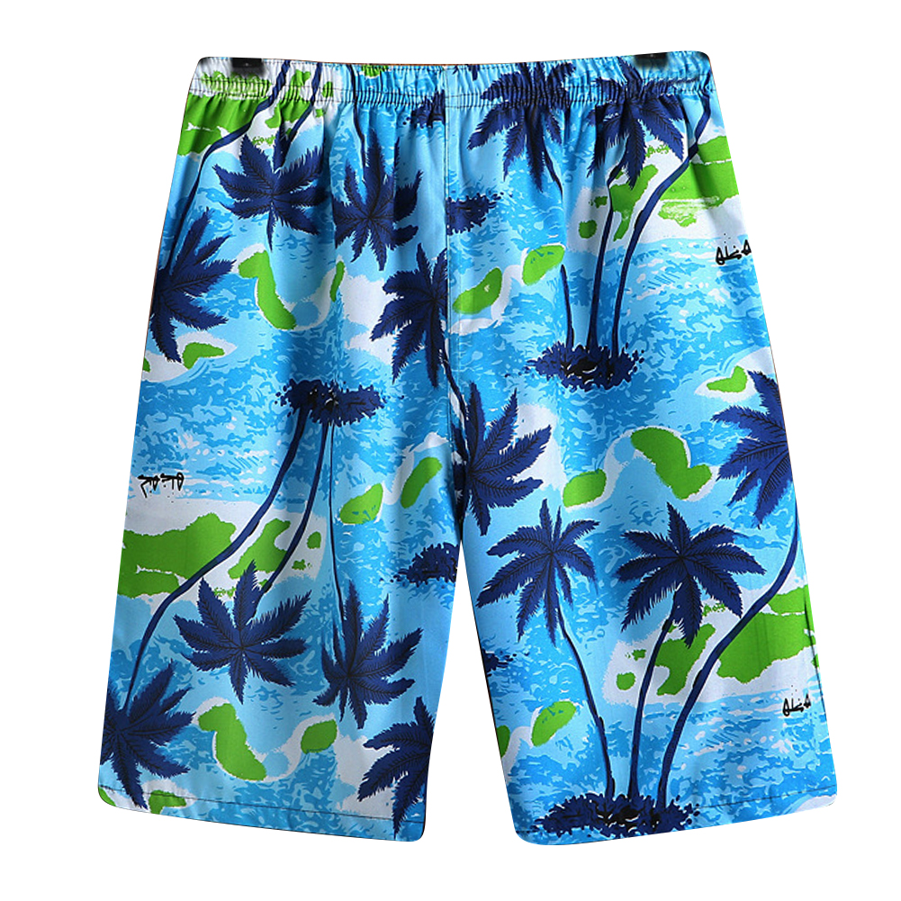 Men Casual Loose Colorful Printing Quick Dry Beach Shorts Cool blue coconut_One size