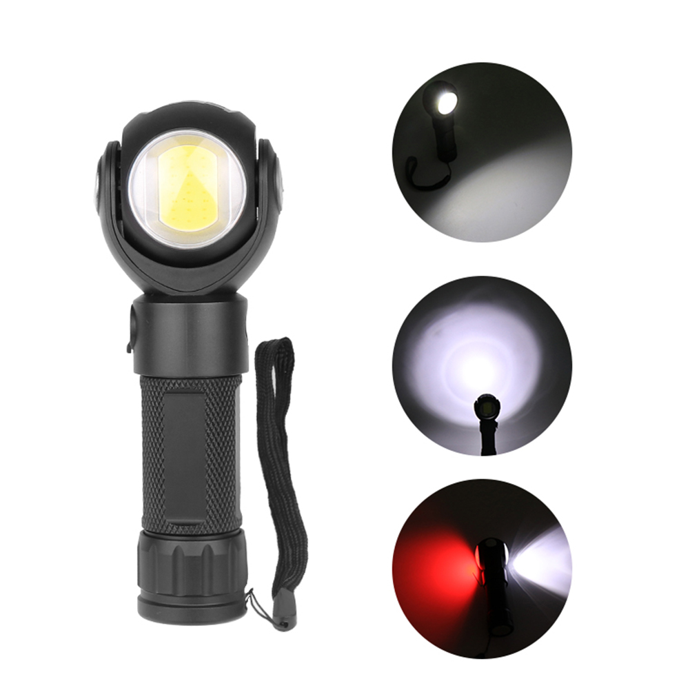 Waterproof 360 Degree Rotatable T6 LED Torch Flashlight with Magnet COB Work Light White light + red light