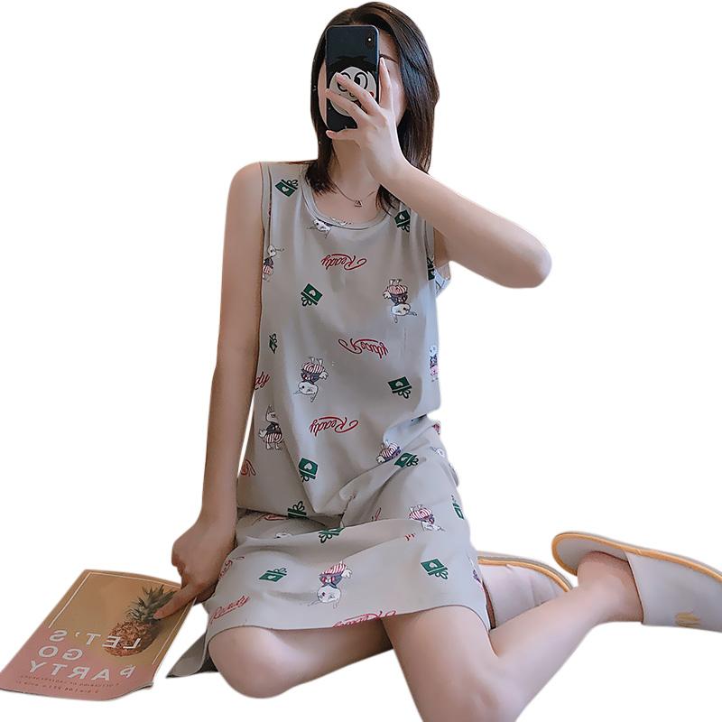 Girl Sleeveless Nightdress with Bra Pad Rabbit Pajama Sweet Summer Loose Sleepwear Sundress Gray rabbit_2XL
