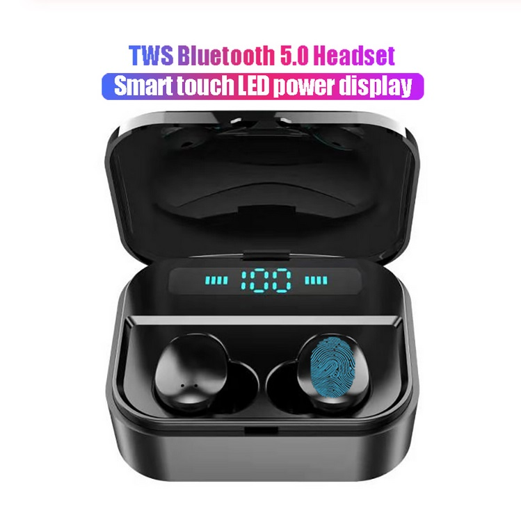 X7 Wireless Earbuds Bluetooth 5.0 Earbuds TWS Fingerprint Touch Bluetooth Earphone Mini IPX7 Waterproof Headphones  black