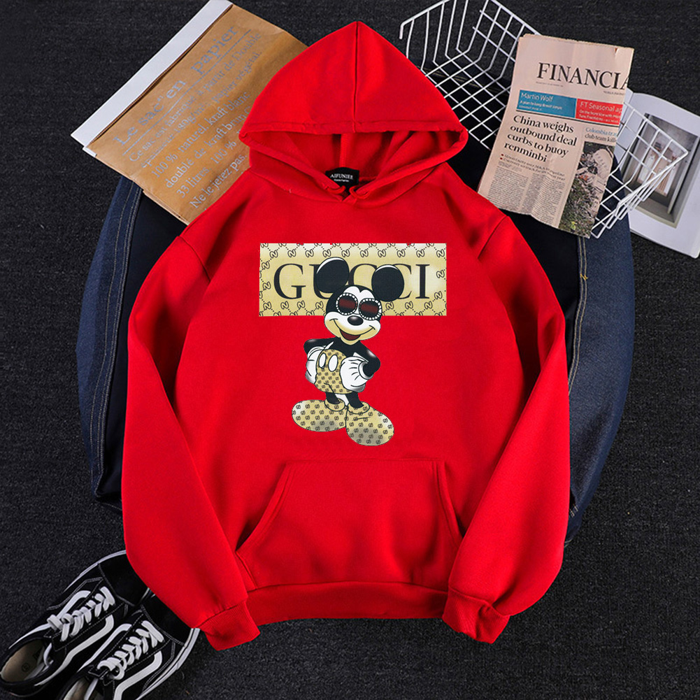 Men Cartoon Hoodie Sweatshirt Micky Mouse Autumn Winter Loose Student Couple Wear Pullover Red_L