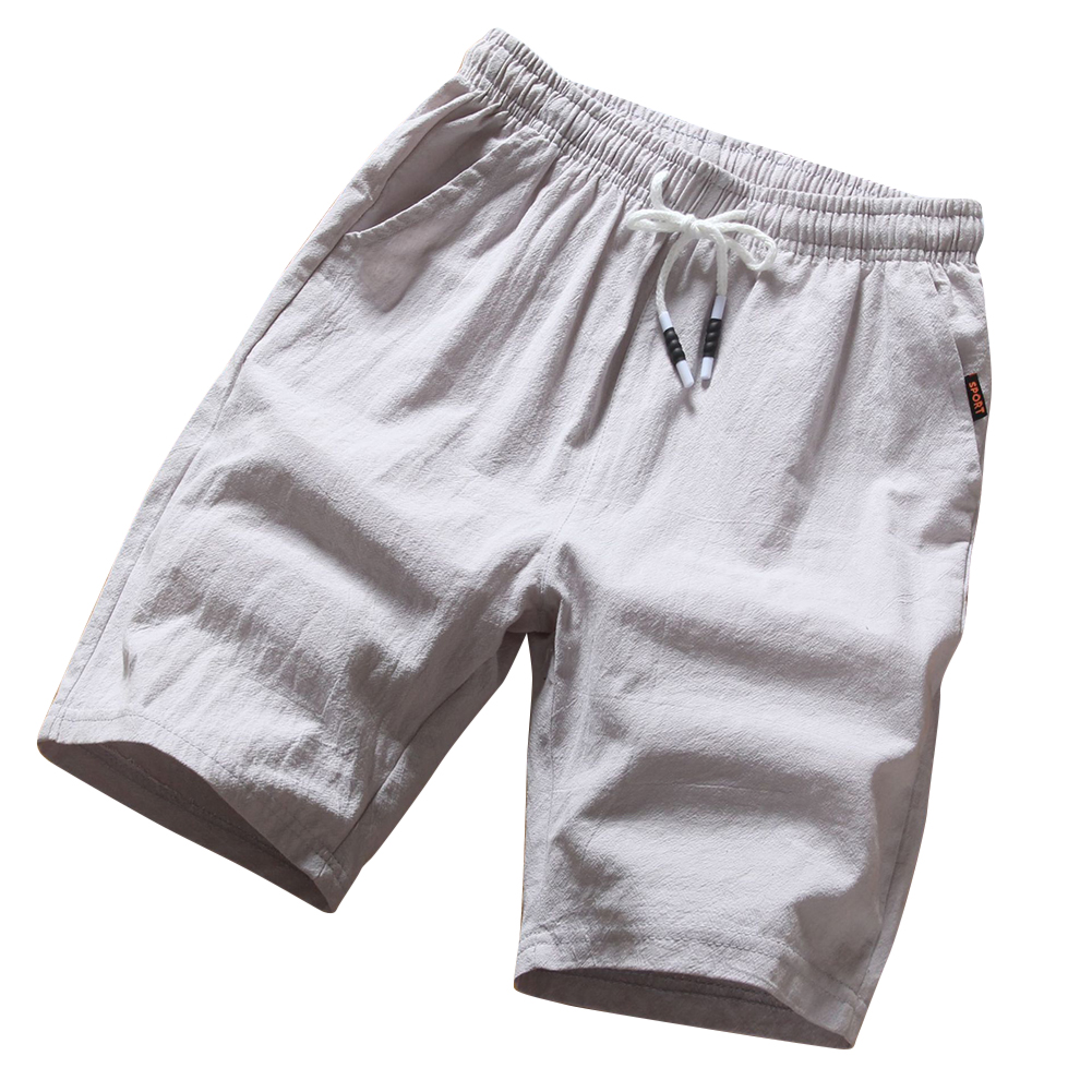 Men Soft Cotton Loose Casual Shorts Middle Length Pants gray_XXXL