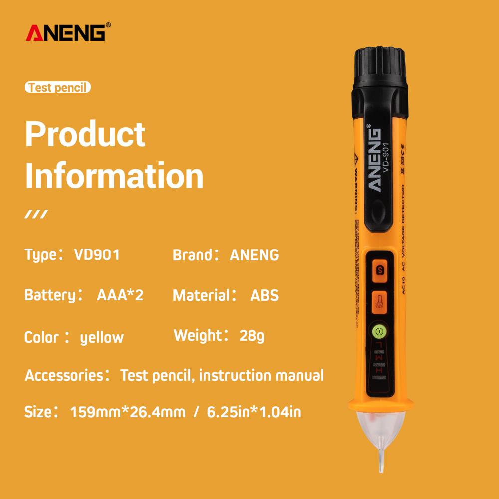 ANENG VD901 AC 12V-1000V Electrical Non Contact Voltage Detector Test Pen Probe Tester yellow