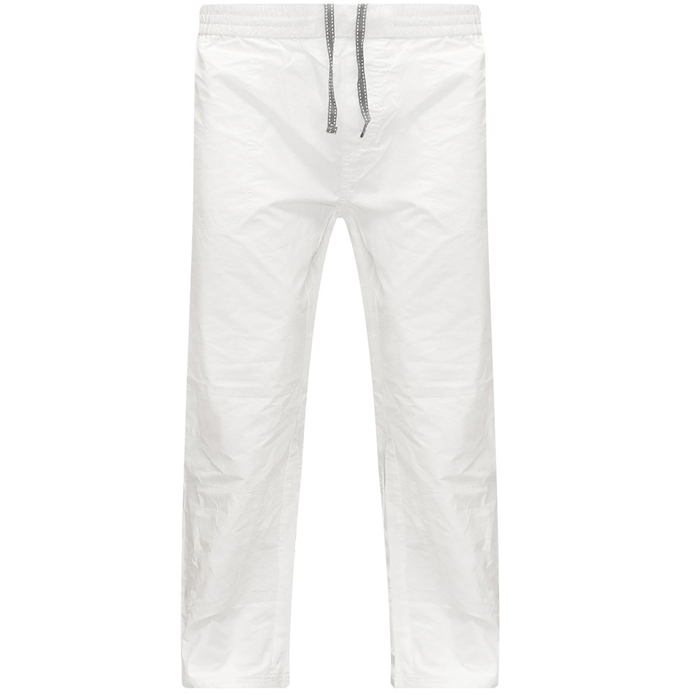 Men Cotton Loose Pants Drawstring Yoga Elastic Waist Straight Trousers white_XXL