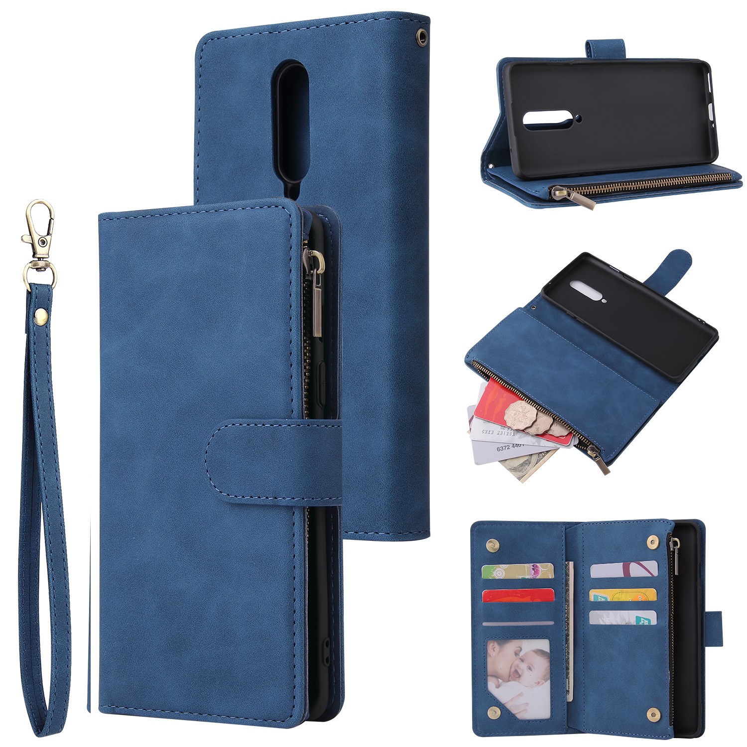For One plus 8 Zipper Purse Leather Mobile Phone Cover with Cards Slot Phone Bracket 2 blue