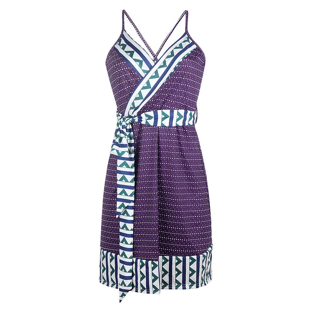 Women Summer Fashion Maternity Printed Sling Pregnant  Bohemian Style Dress purple_S