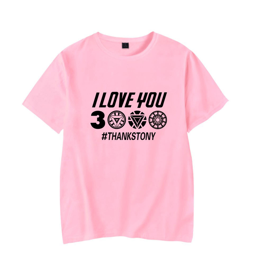 Men Women Summer I Love You 3000 Letters Printed Casual Round Collar Fashion T-shirt B pink_XXL