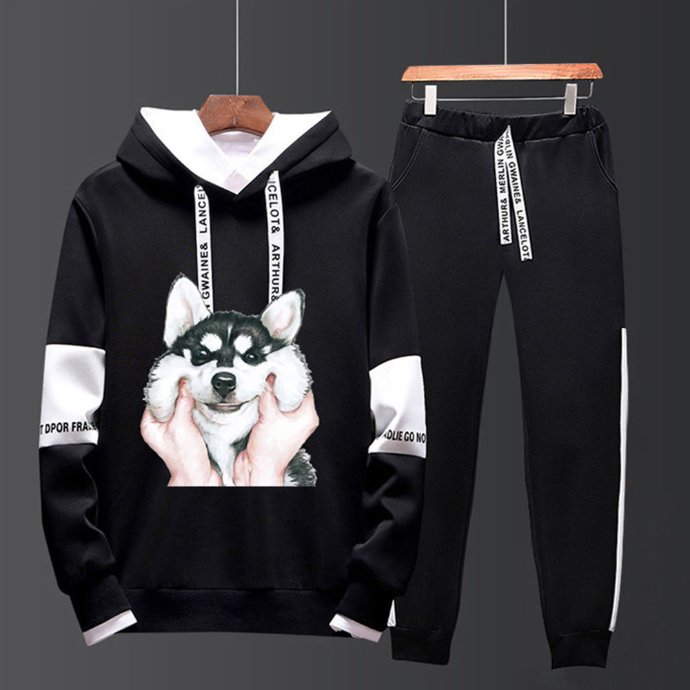 Two-piece Sweater Suits Long Sleeves Hoodie+Drawstring Pants Sports Wear for Man 5#_M
