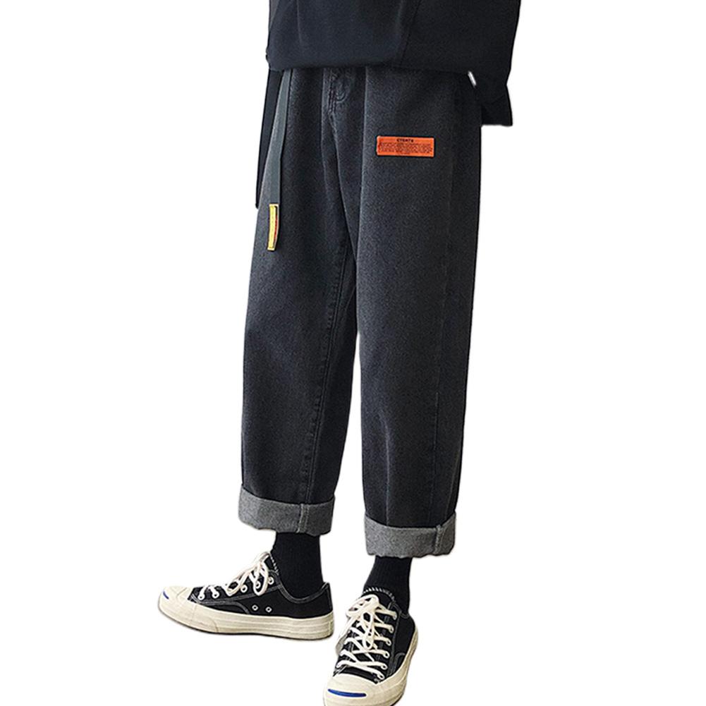 Men Jeans Denim Pants Label Decoration Straight Bottom Loose Casual Male Trousers  Black_S