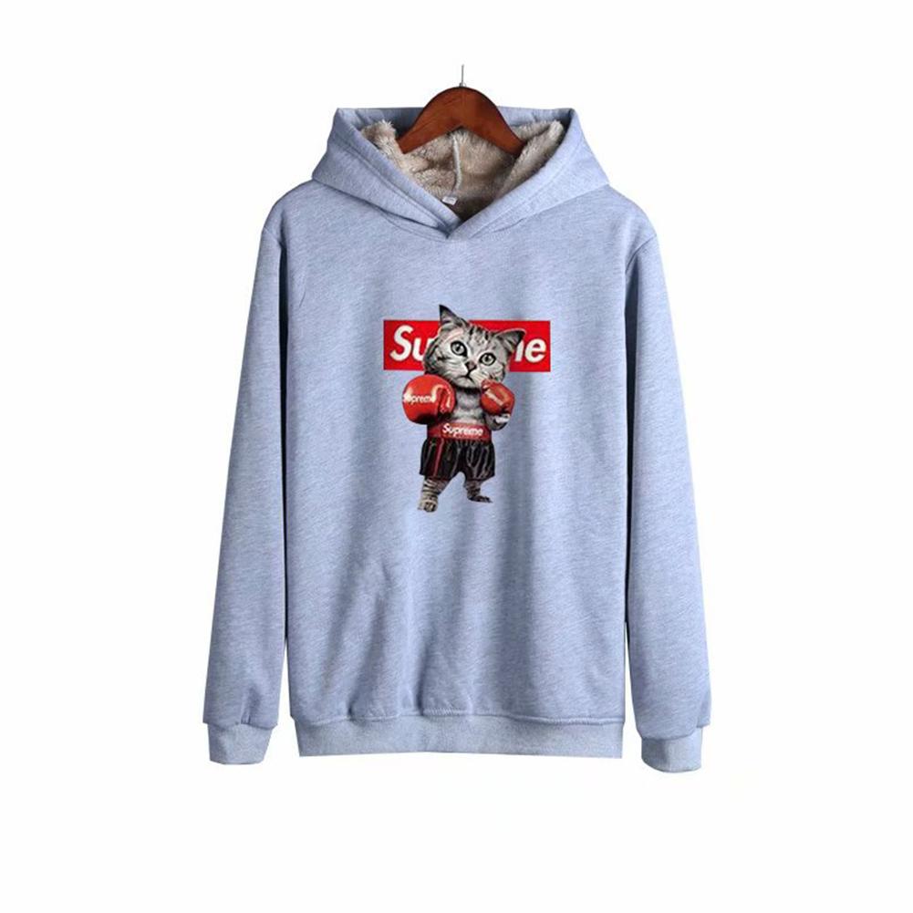 Men Autumn Winter Pullover Hooded Sweater Loose Long Sleeve Fleece Line Tops Hoodie 2#_M