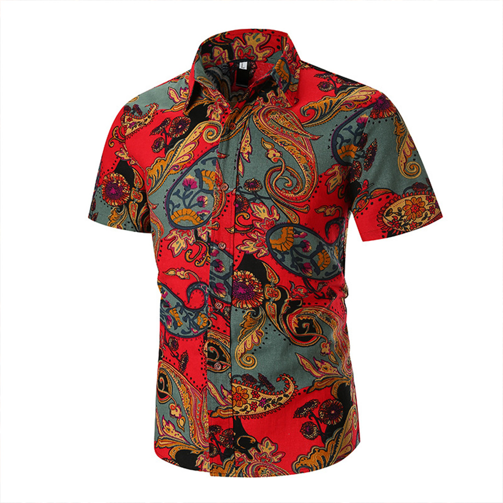 Men Short Sleeve Shirt Fashionable Printed Slim Fit Tops red_XL