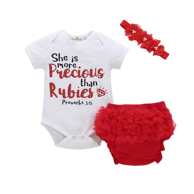 Baby Girls Clothes Set Letters Print Short Sleeve T-shirt+Lace Shorts+Headband Summer Newborn Clothing 3PCS Suit