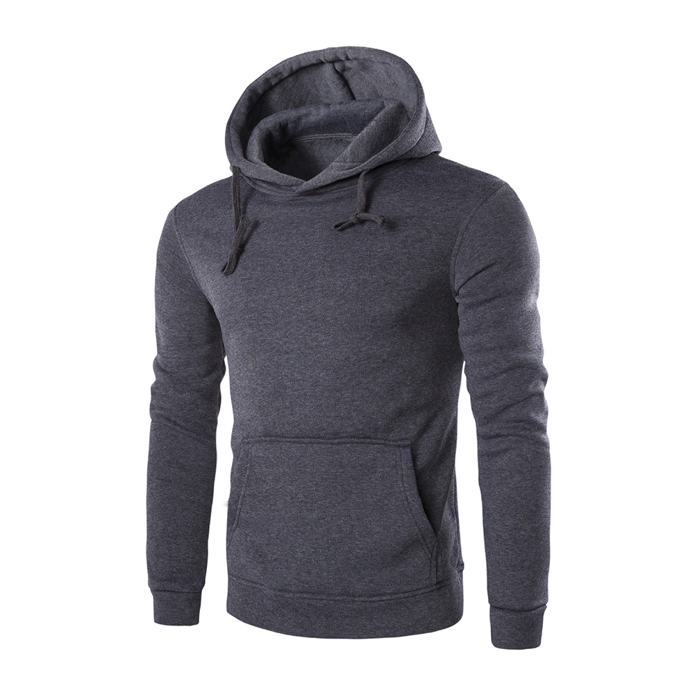 Unisex Fashion Hoodies Pure Color Long Sleeved Hoodies Dark gray_M