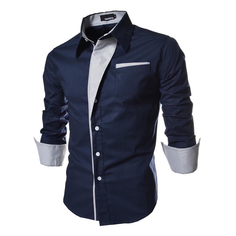 Men Fashion Stripe Pocket Decor Long Sleeve Shirtx Navy blue_2XL